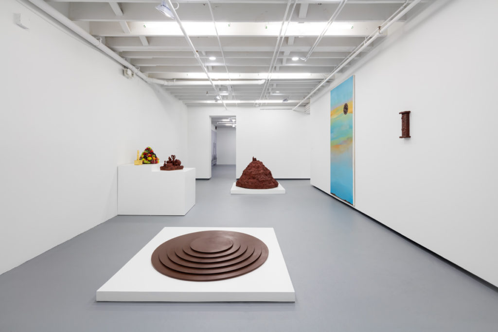 Installation view of John Miller sculptures, I Stand, I Fall at ICA Miami