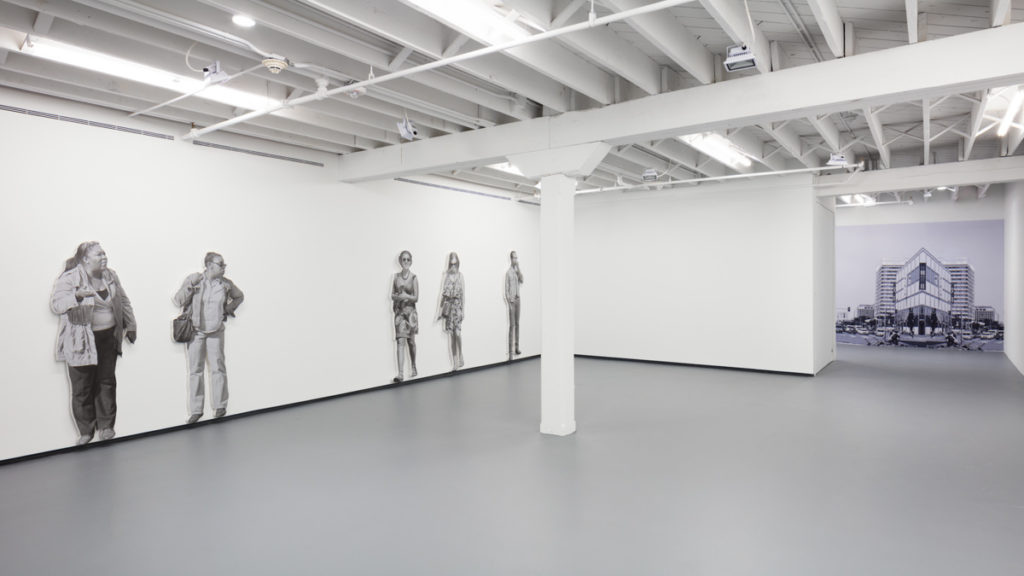 Installation view, John Miller, Pedestrians at I Stand, I Fall, at ICA Miami