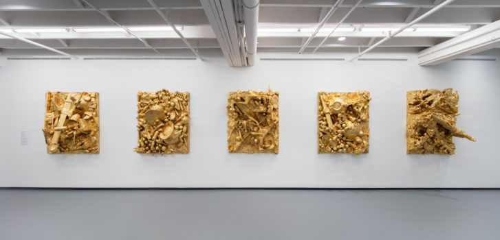 Image of John Miller's Gold Reliefs from I Stand, I Fall at ICA Miami