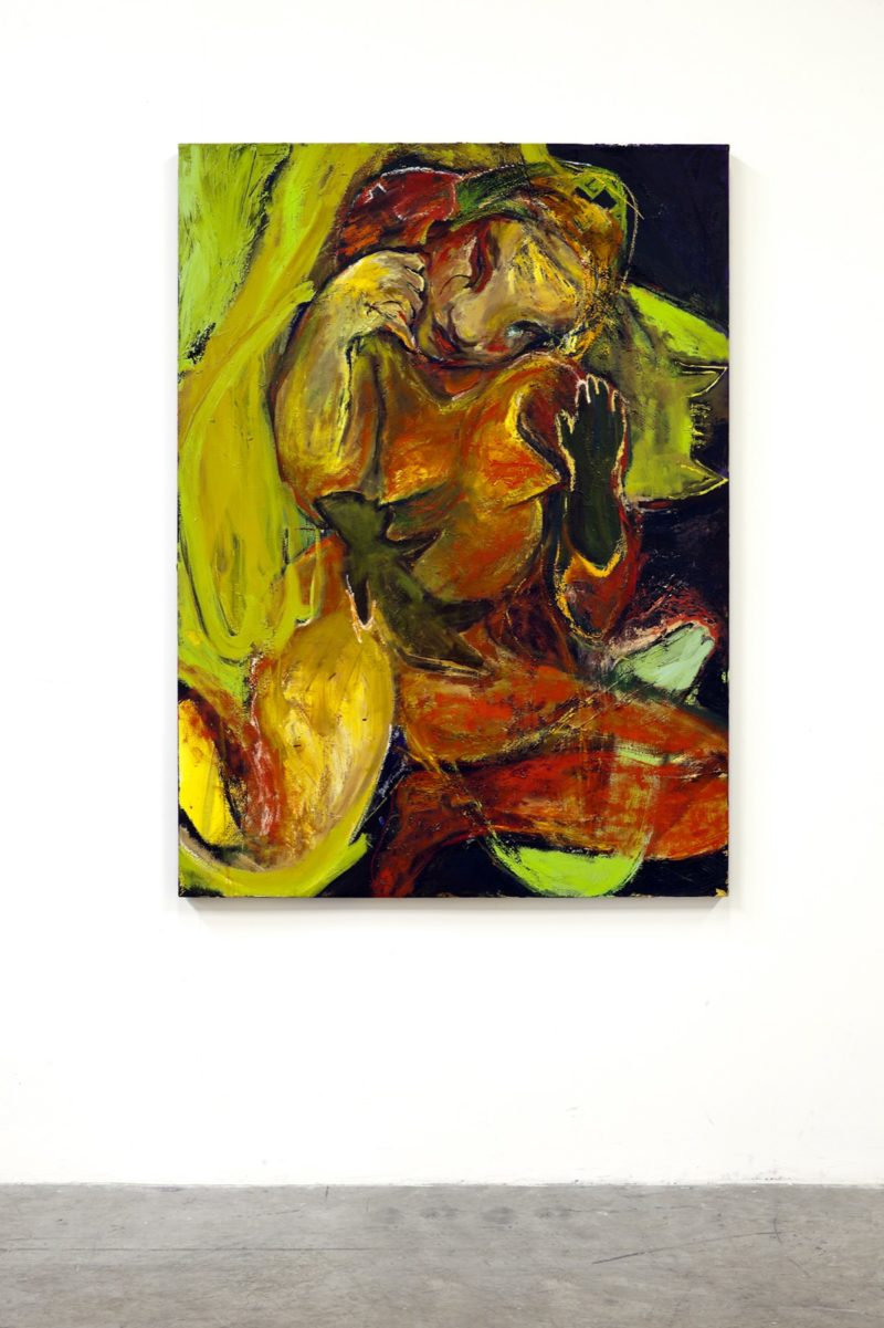 Rita Ackermann, African Nurse, 2005-2008. Acrylic, oil, gel medium, oil stick, spray paint, leather, rabbit skin, glue on canvas. Collection of Institute of Contemporary Art, Miami. Gift of the Artist.