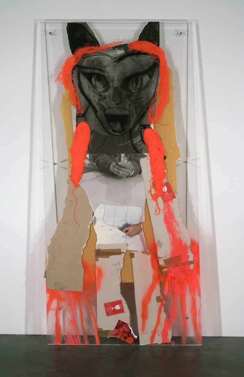 Rita Ackermann, Firecrotch, 2008. Plexiglas, yarn, printed paper, cardboard, tape, charcoal, spray paint, tempera, marker, stickers, bolts. Collection of Institute of Contemporary Art, Miami.