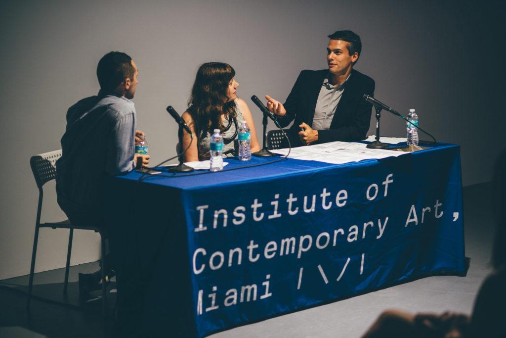 Alex Gartenfeld, Ceci Moss, and Simon Castets speaking at IDEA 003: Open Call Juror Discussion