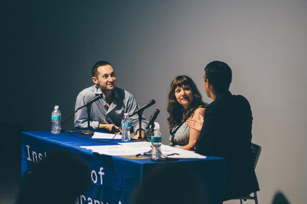 Alex Gartenfeld, Ceci Moss and Simon Castets speaking at IDEA 003: Open Call Juror Discussion