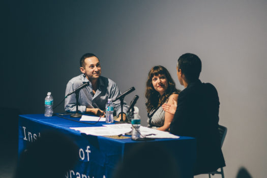 Alex Gartenfeld, Ceci Moss and Simon Castets speaking at IDEA 003: Open Call Juror Discussion
