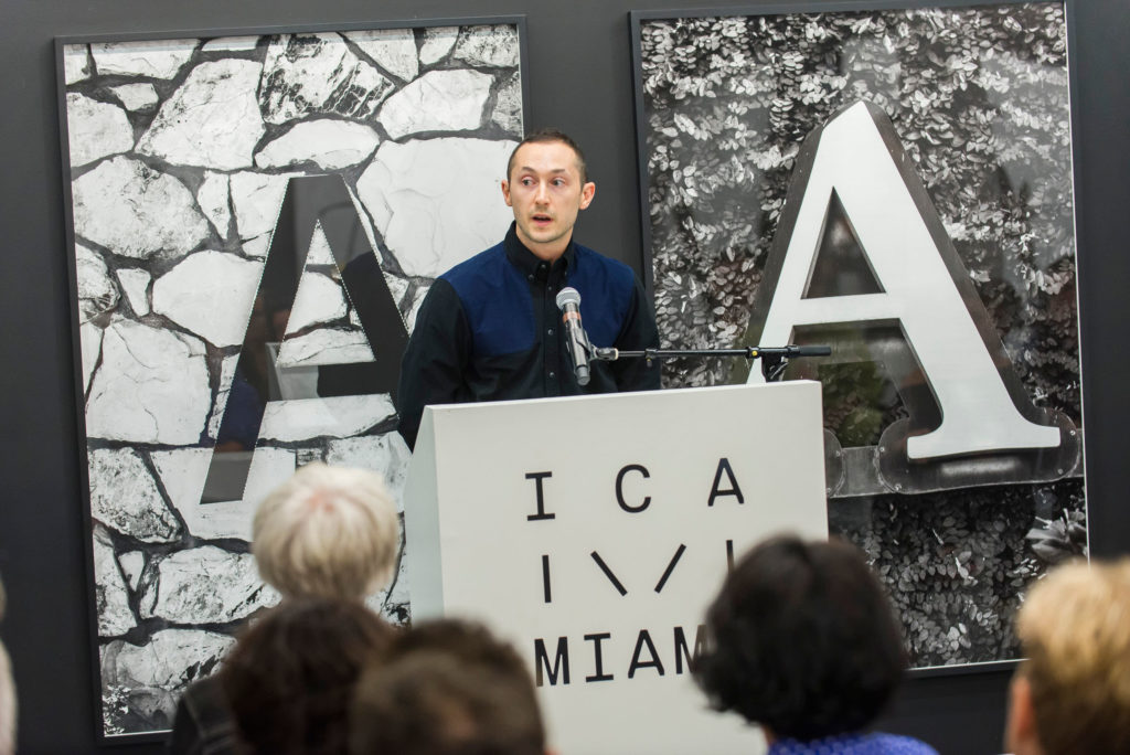 Image of Alex Gartenfeld introducing Eileen Myles at ICA IDEAS, ICA Miami