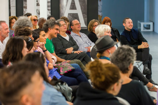 Audience listening to Eileen Myles at ICA IDEAS, ICA Miami