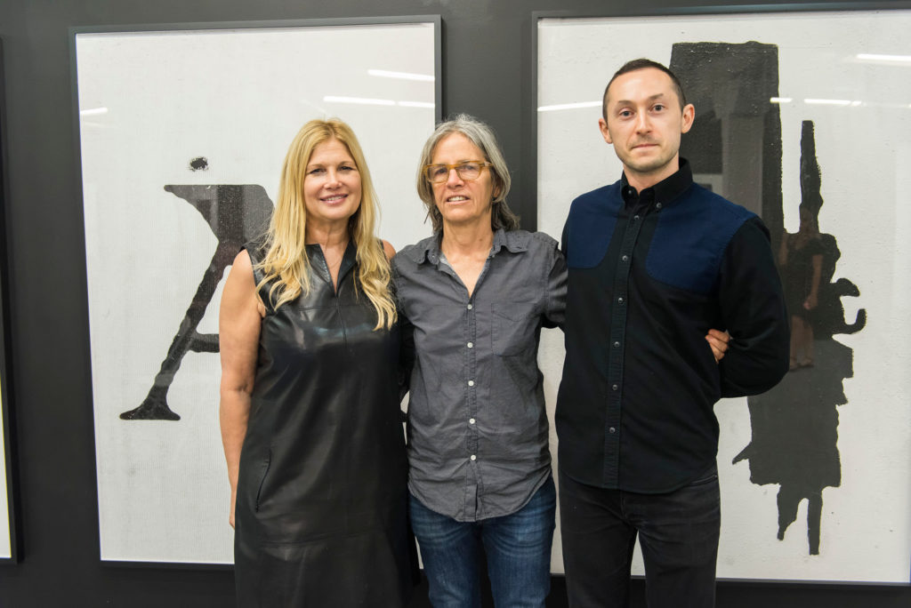 ICA Miami Director Ellen Salpeter, Deputy Director and Chief Curator Alex Gartenfeld, and poet Eileen Myles pose for a photo during ICA IDEAS, ICA Miami