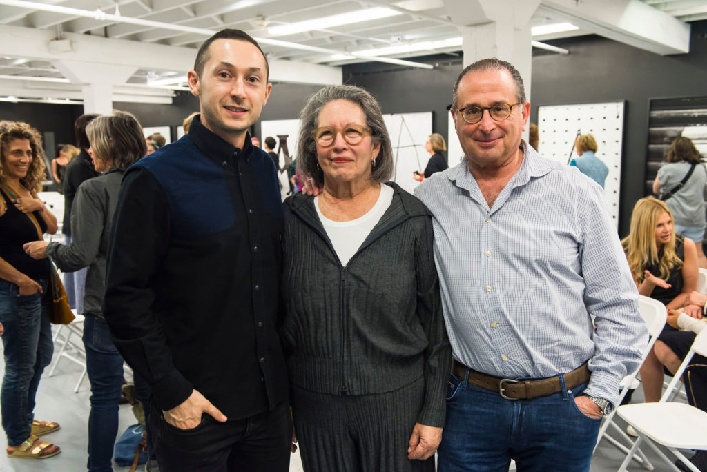 ICA Miami Deputy Director and Chief Curator Alex Gartenfeld poses for a photo with Ronni and Andrew Smulian during ICA IDEAS, ICA Miami
