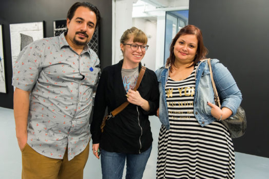 Melissa Wallen, Assistant Director of the de la Cruz Collection (center) with guests at ICA IDEAS, ICA Miami