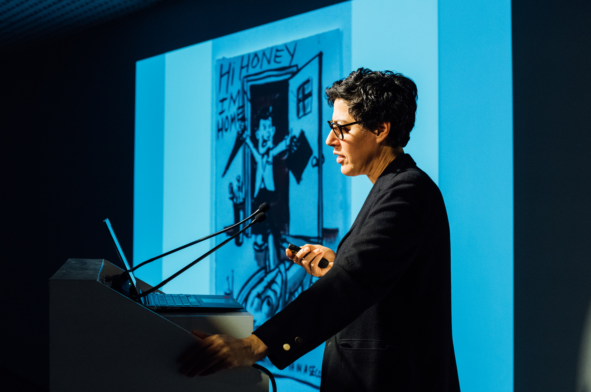 Nicole Eisenman at ICA Speaks. Photo: Javier Sanchez.
