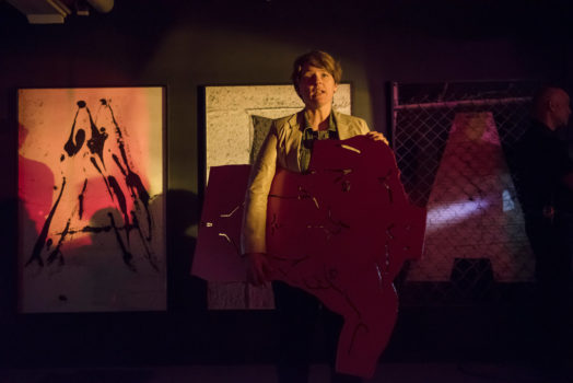 An image of artist Erika Vogt performing for the Artist Theater Program during Miami Art Week, an ICA Performs event, ICA Miami