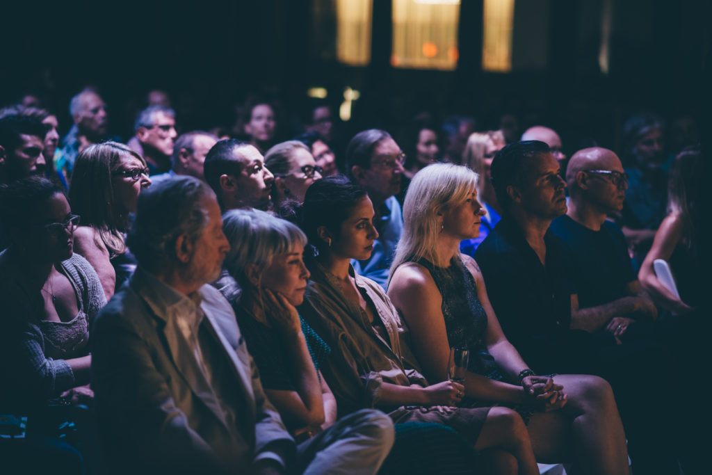 Audience photo during a lecture by Richard Tuttle for ICA Speaks, ICA Miami