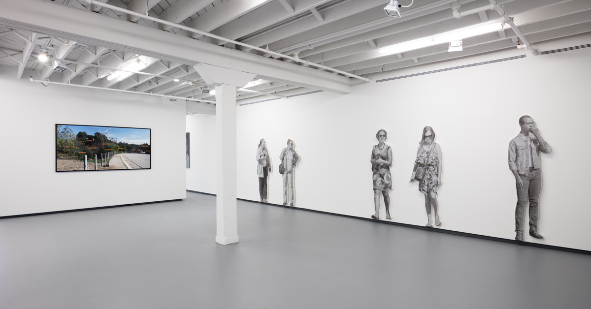 Image of a personal ad and pedestrian paintings from the exhibition John Miller: I Stand, I Fall on view at ICA Miami