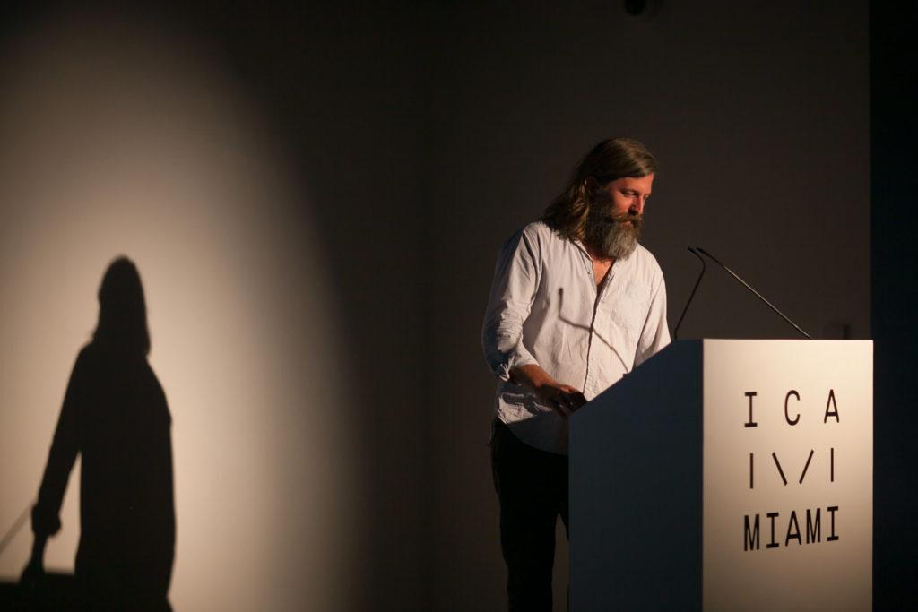 Photographer Roe Ethridge lecturing for ICA Speaks, ICA Miami