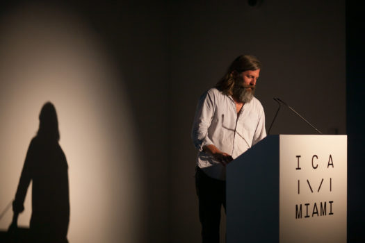 Photographer Roe Ethridge lecturing for ICA Speaks, ICA Miami