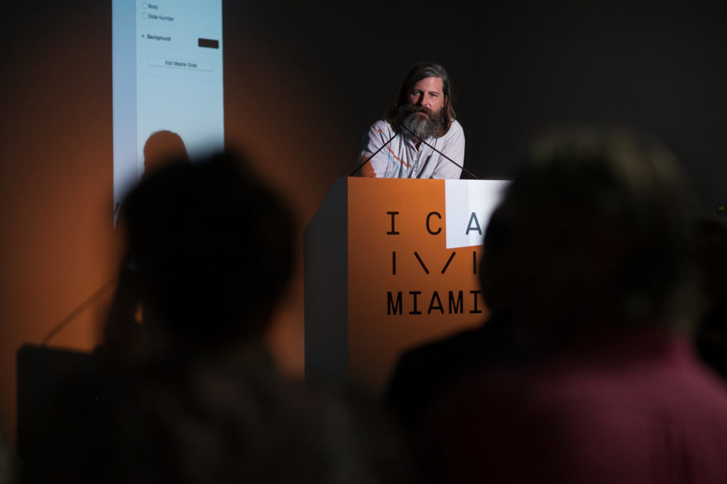 Photographer Roe Ethridge answers questions during ICA Speaks, ICA Miami