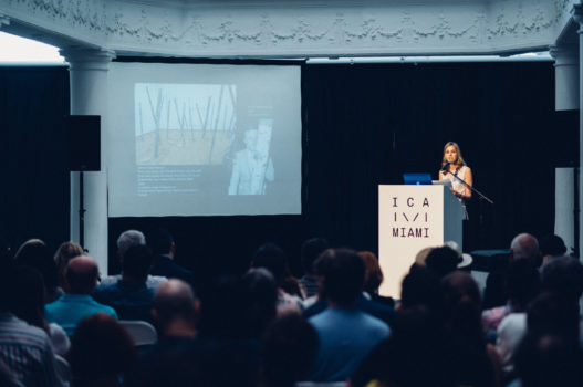 Isabelle Graw at the podium for ICA IDEAS at ICA Miami