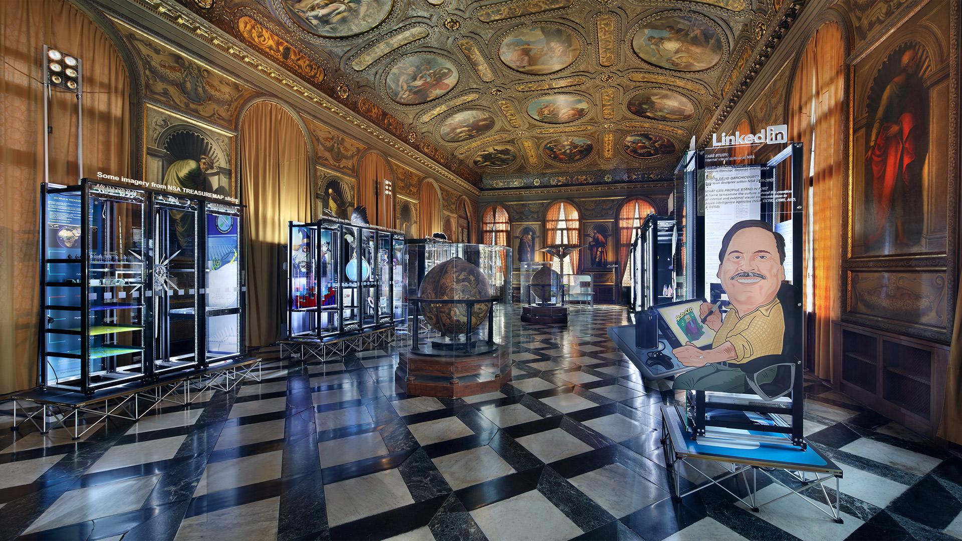 Installation view of Simon Denny, Secret Power, 56th Venice Biennale, 2015