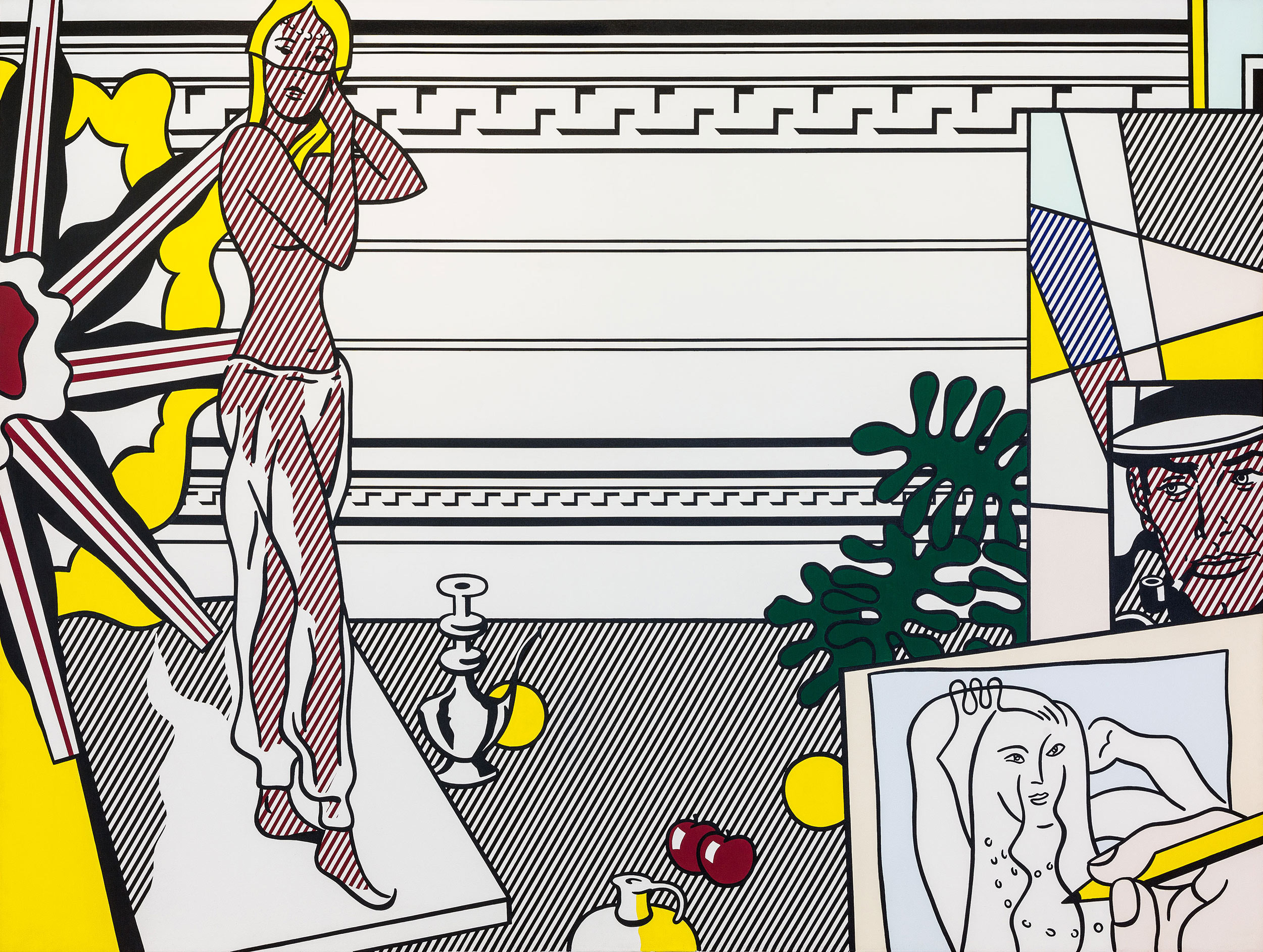 Roy Lichtenstein, Artist's Studio with Model, 1974. Oil and Magna on canvas. Collection of Irma & Norman Braman.