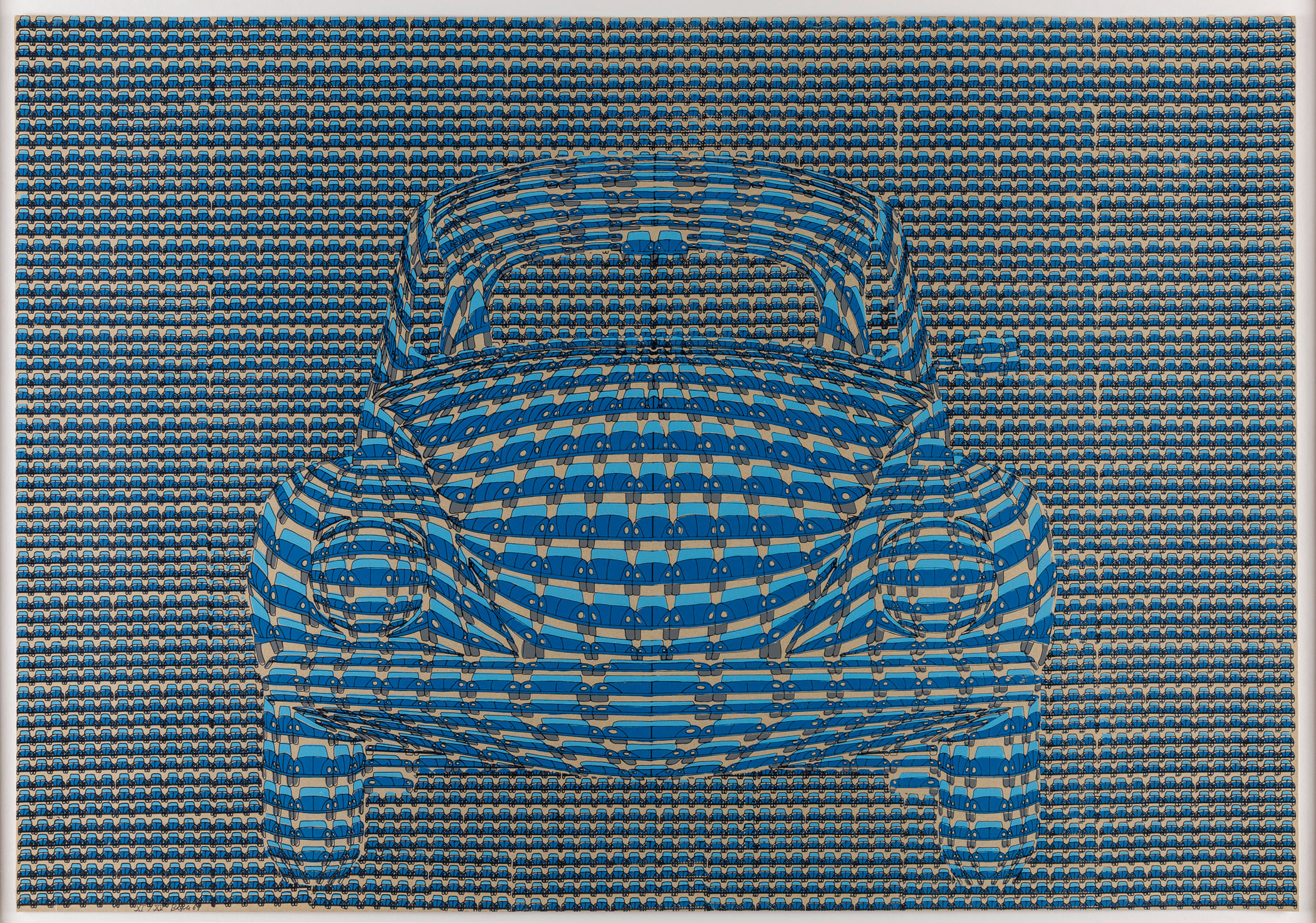 Thomas Bayrle, VW Käfer (VW Beetle), 1969. Screenprint. Courtesy of the Artist, Frankfurt.