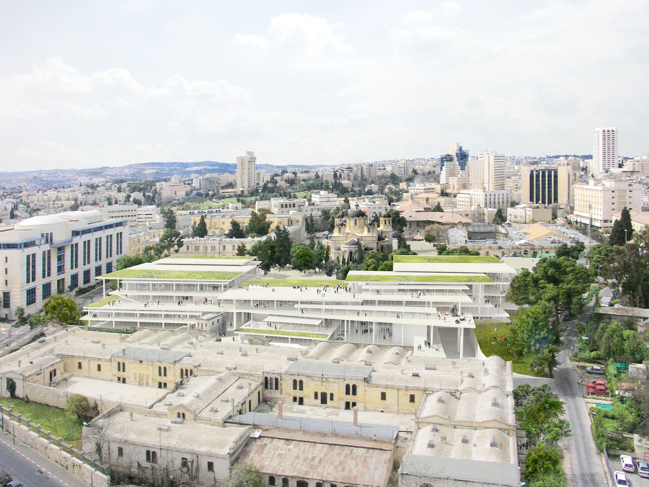 Image rendering of Bezalel Academy of Arts and Design, Jerusalem, Israel. Courtesy of SANAA.