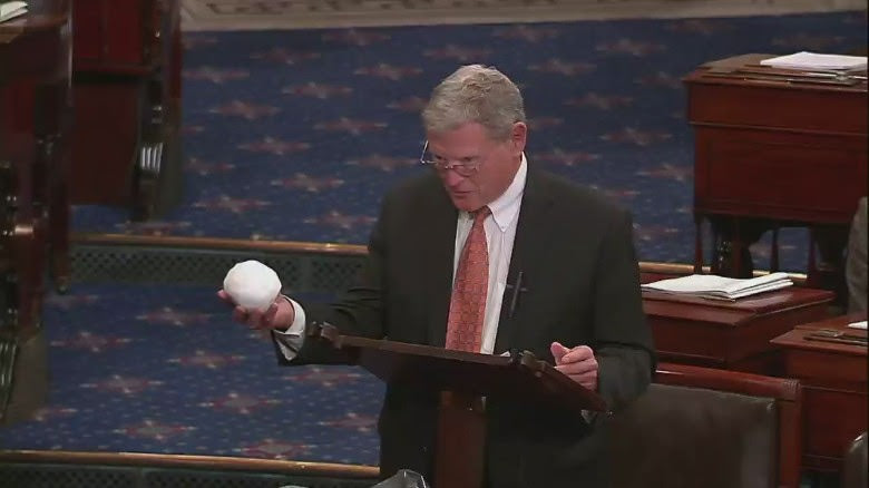 Congressman Inhofe attempts to disprove climate change with his famous snowball. Video still. Courtesy C-SPAN.