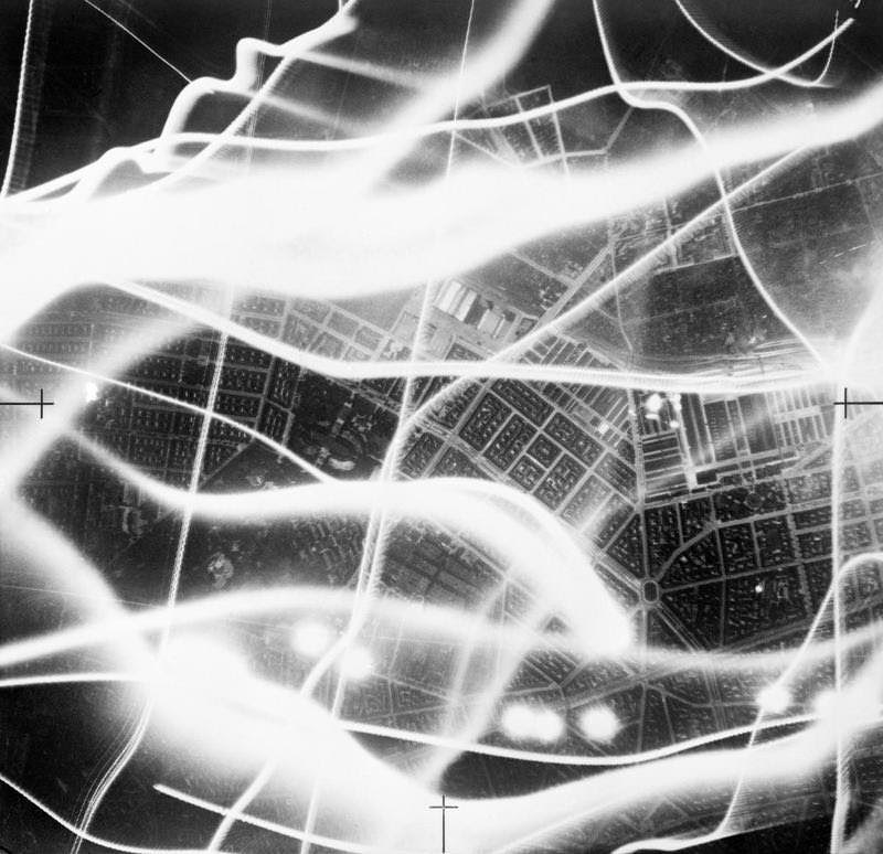 Vertical night aerial photograph taken during a raid on Berlin, September 2, 1941.