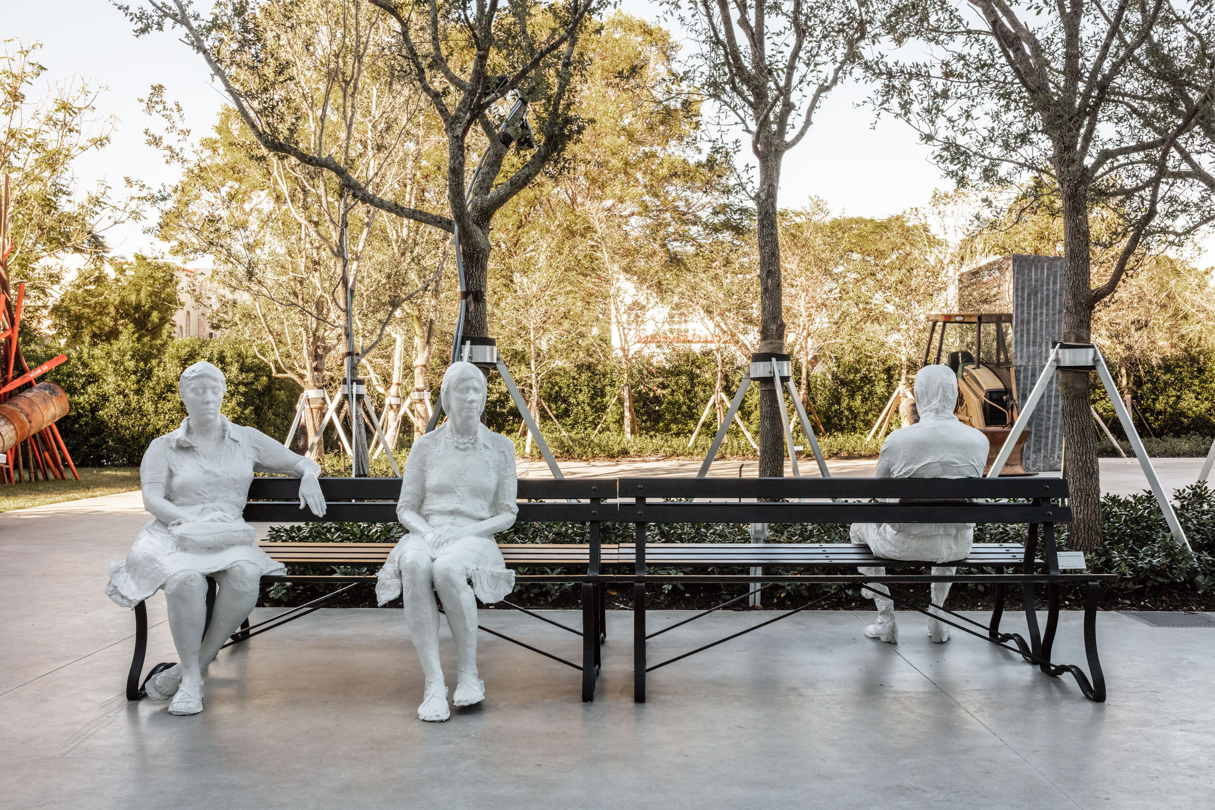 George Segal, Three Figures and Four Benches, 1979. Painted bronze. Collection of Martin Z. Margulies Foundation. Photo: Fredrik Nilsen Studio.