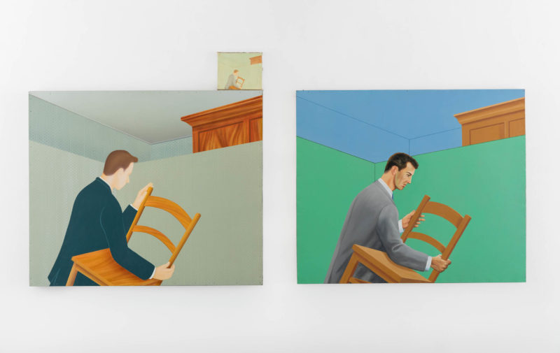 Francis Alÿs, Untitled (in three parts), 1995-1996. Triptych, encaustic on linen. Collection of Institute of Contemporary Art, Miami. Gift of Stanley and Nancy Singer. Photo: Silvia Ros.