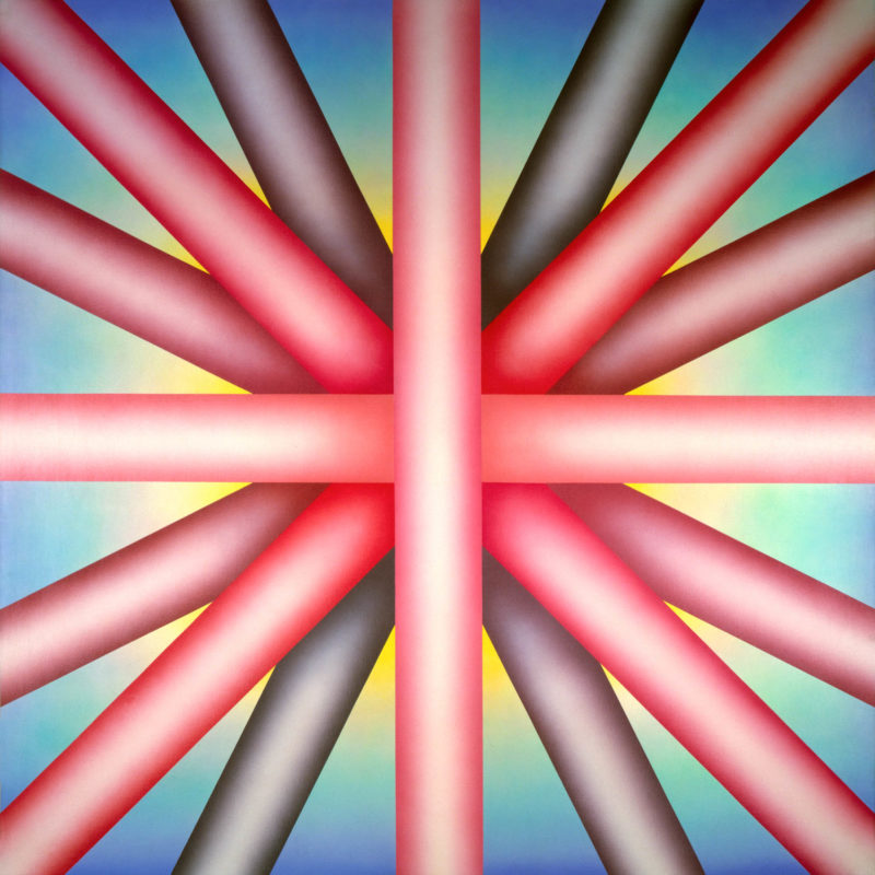 Judy Chicago, Heaven is for White Men Only, 1973. Sprayed acrylic on canvas. Courtesy the artist.