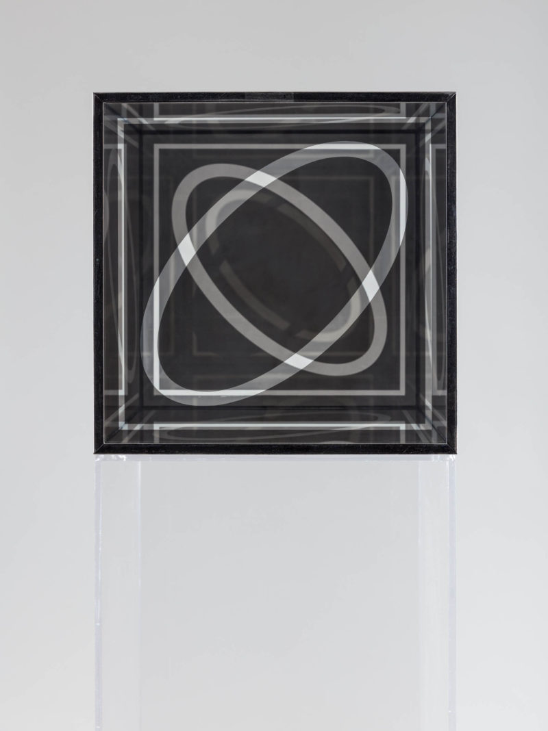 "Larry Bell, Untitled (Cube 12""), 1964. Nickel plated glass and chrome plated brass. Courtesy Hall Collection. Photo: Silvia Ros."