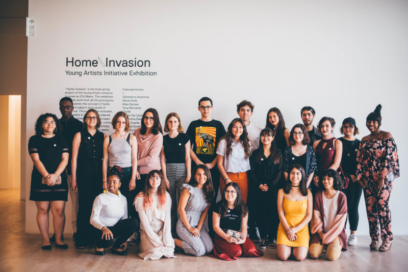 Students from ICA Miami's Young Artists Initiative at the opening of their annual museum exhibition