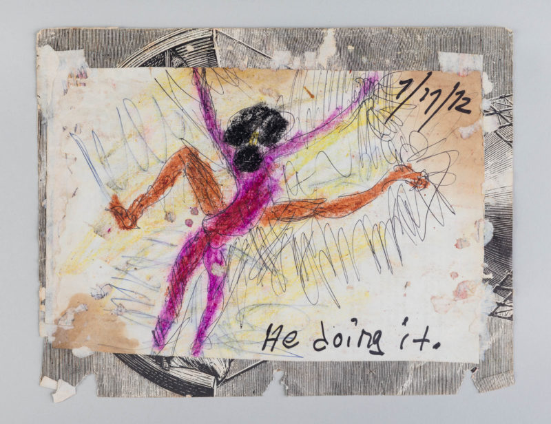 Purvis Young, He Doing it, 1972. Mixed Media on Paper. Collection of Institute of Contemporary Art, Miami. Gift of Craig Robins. Photo: Silvia Ros.