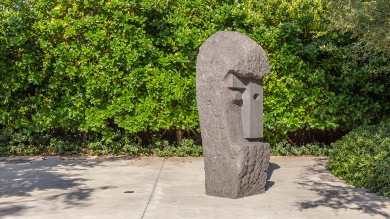 Pedro Reyes, Epicurus, 2016. Volcanic Stone. Collection of Institute of Contemporary Art, Miami. Museum Purchase with additional support provided by Boris Hirmas and Oscar and Carole Seikaly. Gifts from Irma and Norman Braman, Margot and George Greig, Petra and Stephen Levin, Janice and Alan Lipton, Ellen Salpeter, and Ray Ellen and Allan Yarkin made in honor of Alex Gartenfeld.