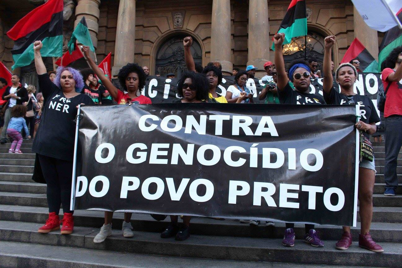 Image of organizers against anti-Black genocide in Brazil
