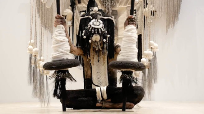 Image of Navajo artist Eric-Paul Riege performing at ICA Miami.