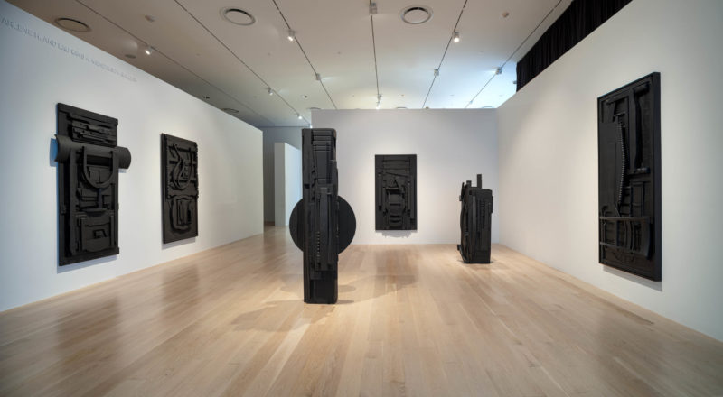 """Installation view: """"Louise Nevelson"""" at ICA Miami.  Dec. 3rd, 2019 — Apr. 19, 2020."""