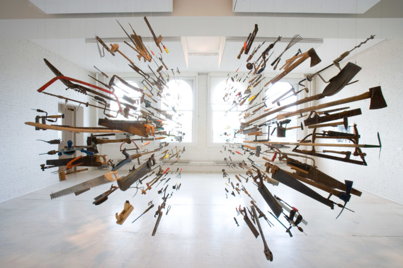Installation view: Damián Ortega, Controller of the Universe, 2008, at P.S.1 Contemporary Art Center, Long Island, NY. © Damián Ortega. Courtesy the artist, P.S.1 Contemporary Art Center, and Gladstone Gallery, New York and Brussels.