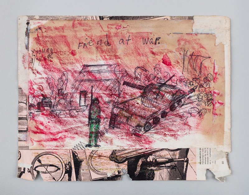 Purvis Young, War, 1969 / He doing it., 1972