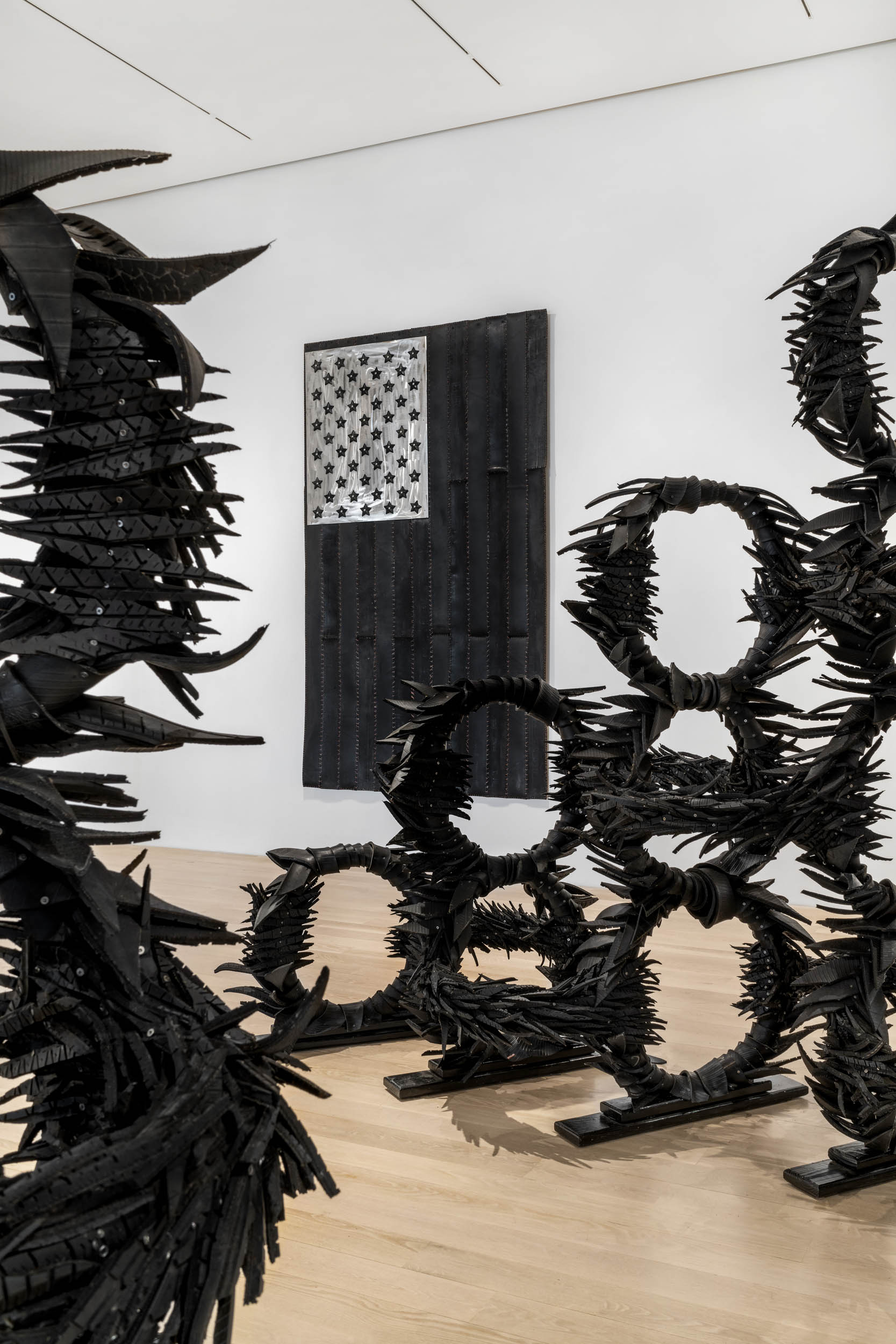 """Installation view: """"Chakaia Booker: The Observance"""" at the Institute of Contemporary Art, Miami. Apr 22 – Oct 31, 2021. Photo: Zachary Balber."""