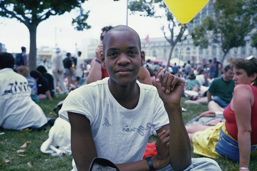 Lyle Ashton Harris, Lyle at Gay Pride (San Francisco, 1989), 2015. Chromogenic print. 15 x 20 1/2 in. Courtesy of the artist, Salon 94, New York, and David Castillo Gallery, Miami.