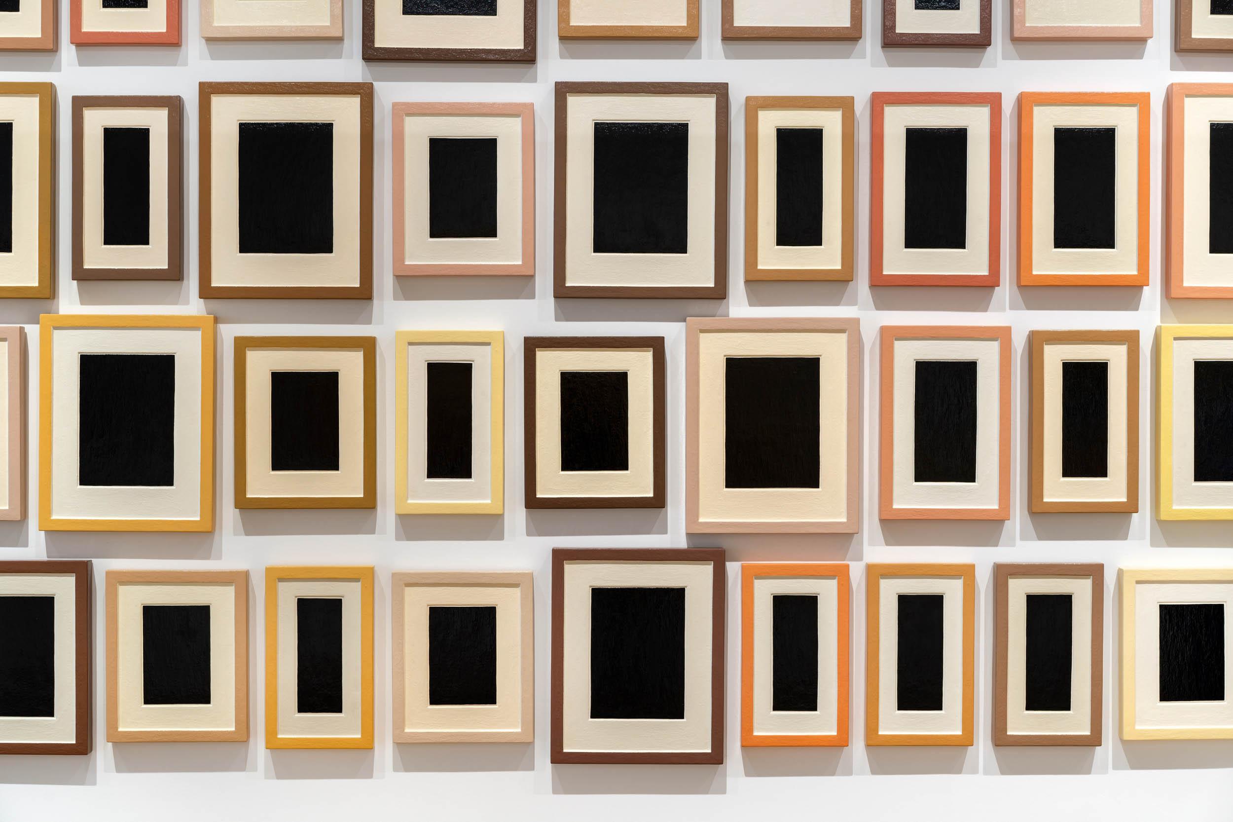 "Installation view: ""Allan McCollum: Works since 1969,"" Institute of Contemporary Art, Miami. 2020. Photo: Zachary Balber."