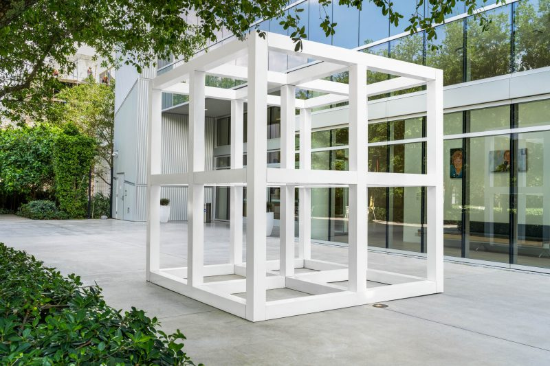 SolLeWitt, Eight Unit Cube (No. 7402),1976. Painted aluminum, 126 x 126 x 126 in. Martin Z. Margulies Collection. Photo: Zachary Balber.