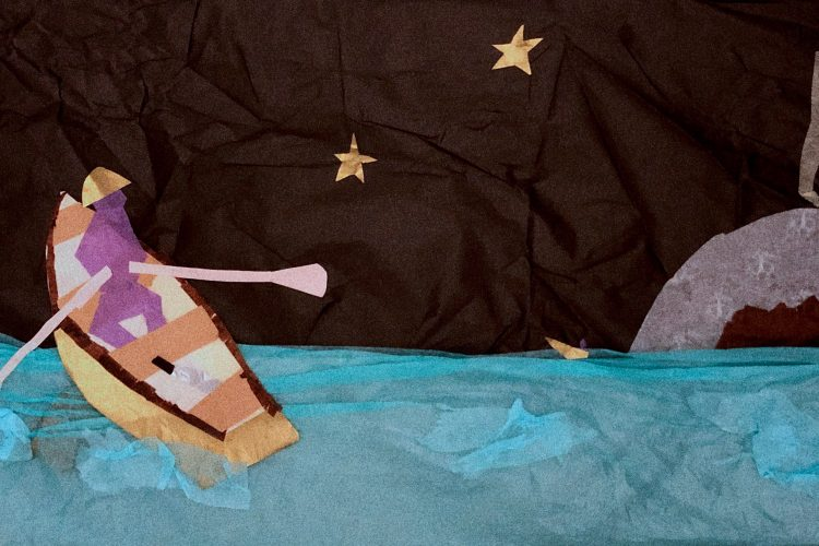 Justin Dunnavant, Maritime Maroon, 2020. Tissue paper on cardboard, 10 x 20 in. Courtesy the artist
