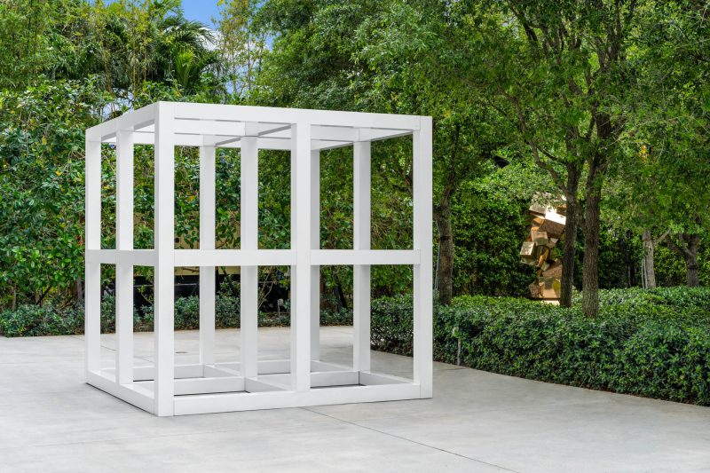 Left: SolLeWitt, Eight Unit Cube (No. 7402),1976. Painted aluminum, 126 x 126 x 126 in. Martin Z. Margulies Collection. Right: Damián Ortega, Replicant Stone, 2019. Silicon bronze. Courtesy the artist and Gladstone Gallery, New York and Brussels. Commissioned by ICA Miami's Ezratti Family Prize for Sculpture. Photo: Zachary Balber.