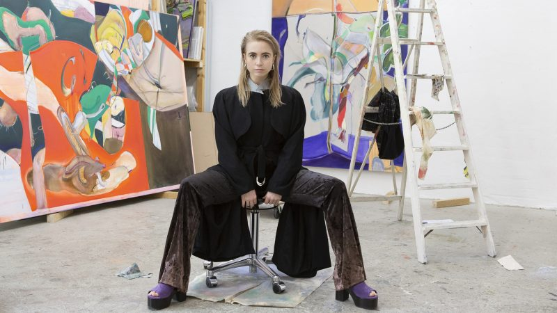 Image of artist Stefanie Heinze in her studio courtesy Pippy Houldsworth Gallery