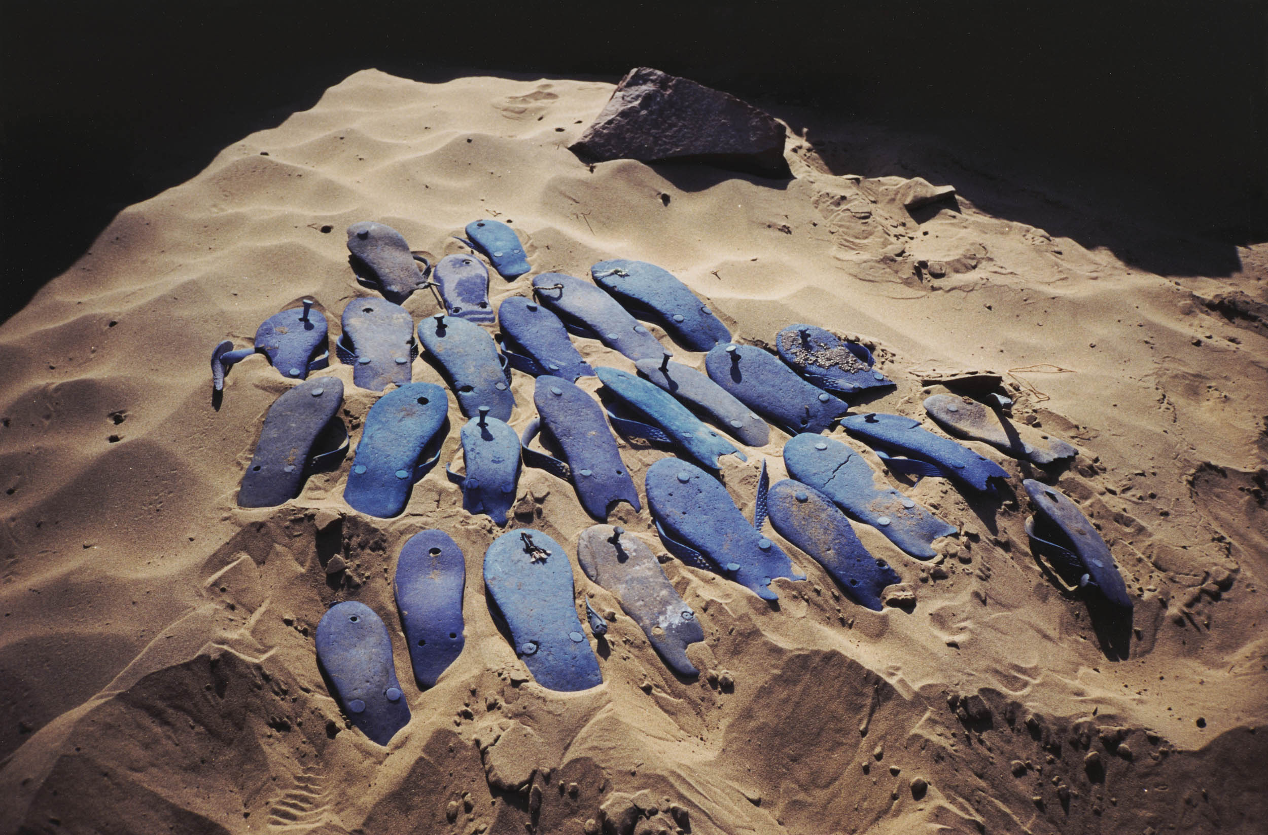 Gabriel Orozco, Blue Sandals, 1996. Cibachrome print. Collection of Institute of Contemporary Art, Miami. Museum Purchase with funds from the Natasha and Jacques Gelman Foundation.